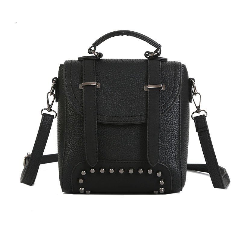 Lichee Grain Pure Color Single Shoulder Bag Fashion Rivet Slanting Female Bag - BLACK