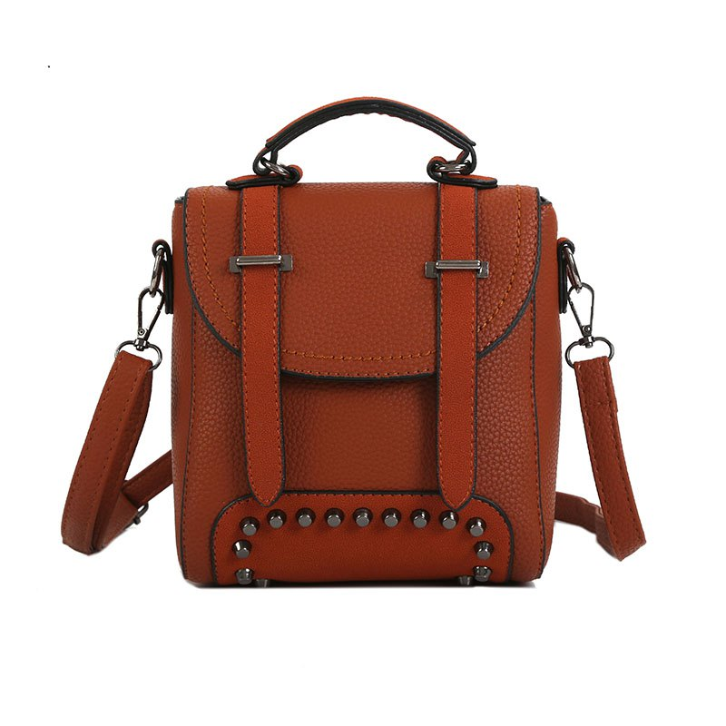 Lichee Grain Pure Color Single Shoulder Bag Fashion Rivet Slanting Female Bag - BROWN