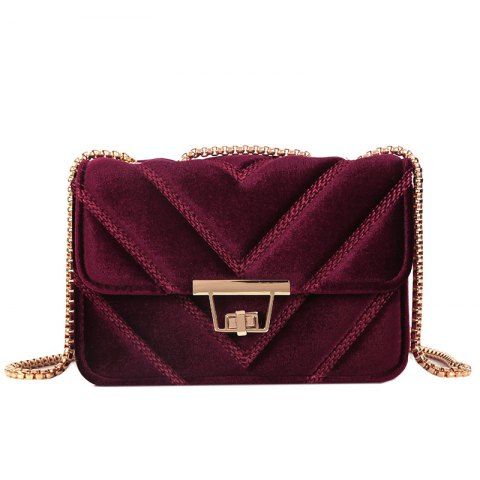Embroidered Line V Grain One-Shoulder Bag Velvet Small Square Bag of New Women Inclined To Cross Small Bags - RED