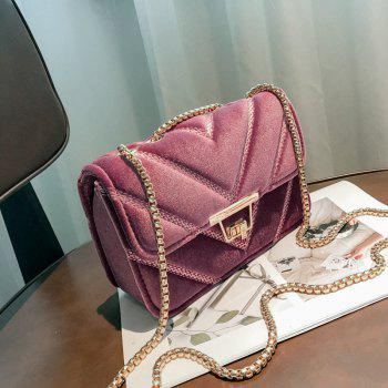 Embroidered Line V Grain One-Shoulder Bag Velvet Small Square Bag of New Women Inclined To Cross Small Bags - PINK