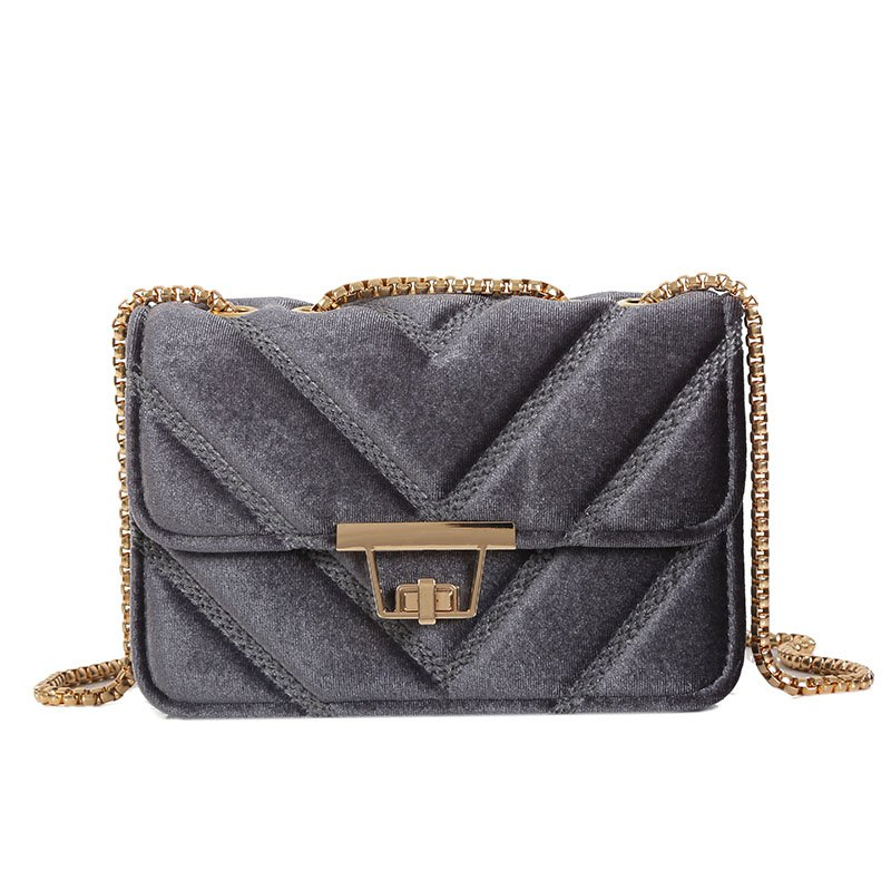 Embroidered Line V Grain One-Shoulder Bag Velvet Small Square Bag of New Women Inclined To Cross Small Bags - GRAY