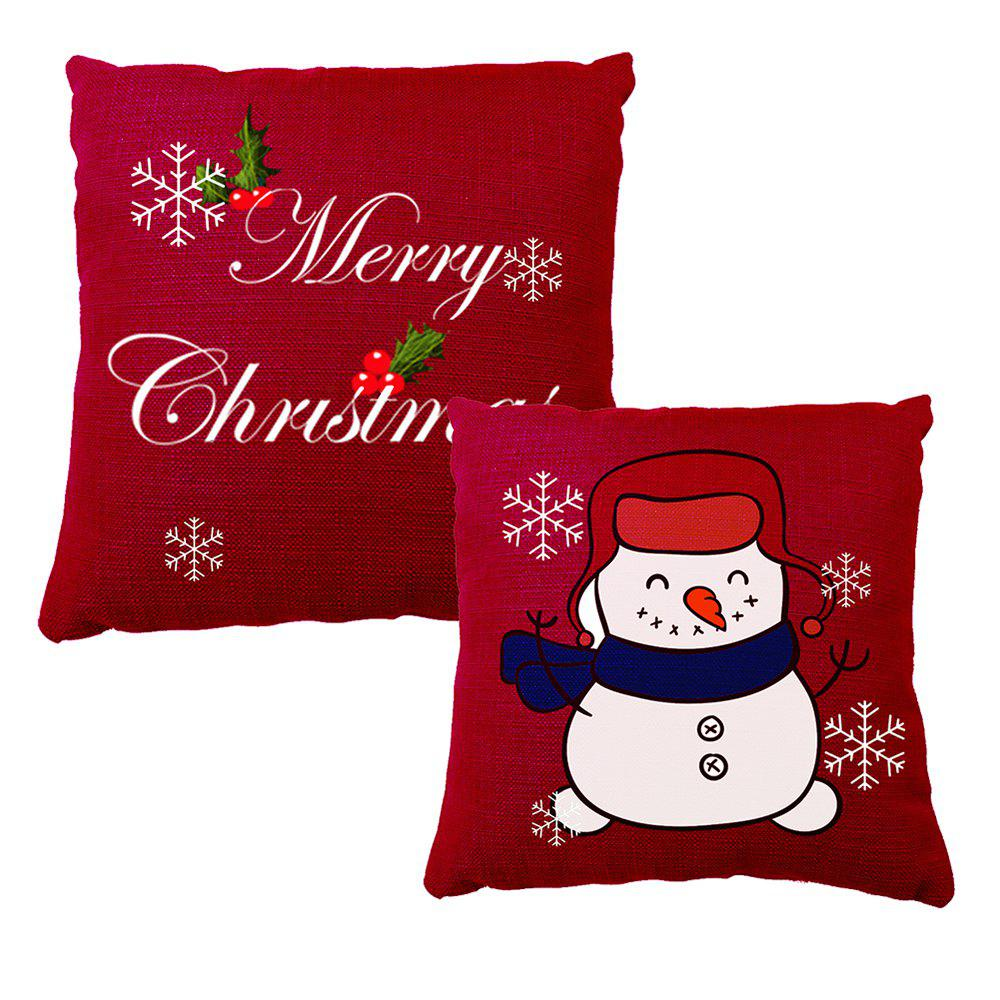 Christmas Decoration Snowman Print Pillow Case - RED 40 X 40 CM