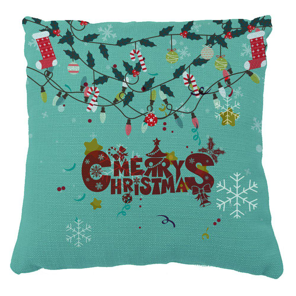 Christmas Decor Snow Stars Print Pillow Cover - GREEN 16INCH X 16INCH