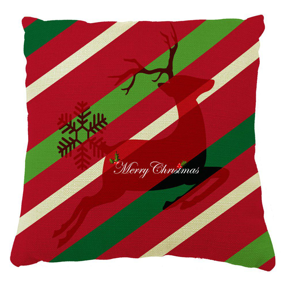 Christmas Home Decor Elk Stripe Pillow Case - RED 16INCH X 16INCH