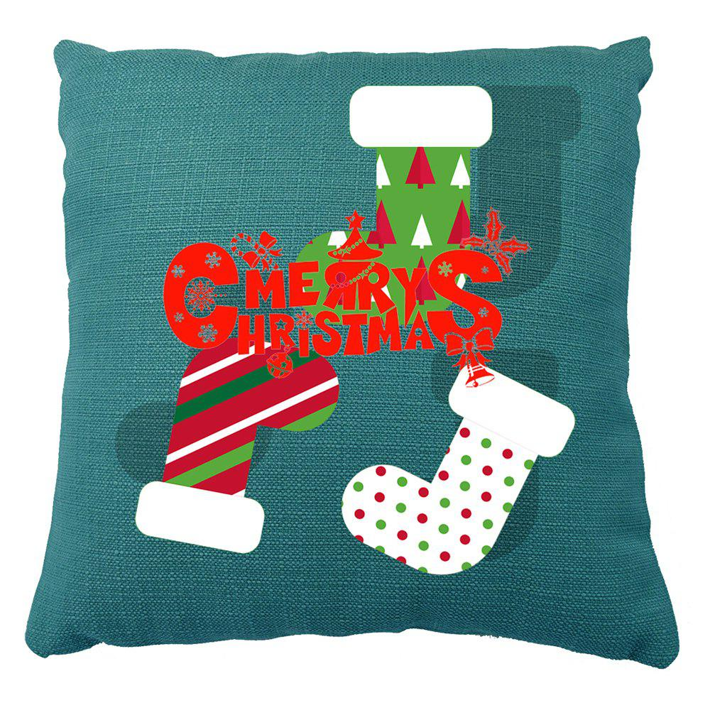 Christmas Home Decor Socks Print Pillow Case - BLUE 16INCH X 16INCH
