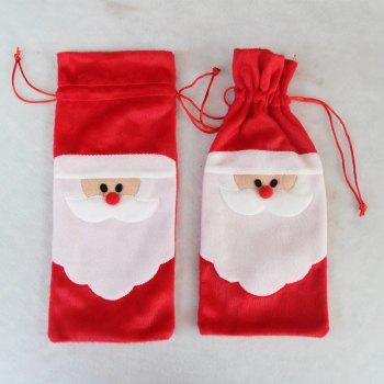 Santa Claus Christmas Drawstring Red Wine Bottle Cover Bags Dinner Party Table Decor Xmas Gift - RED