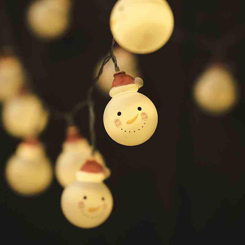 LED Christmas Doll Snowman Headlight String Decorative Lights - WARM WHITE 16.5-INCH