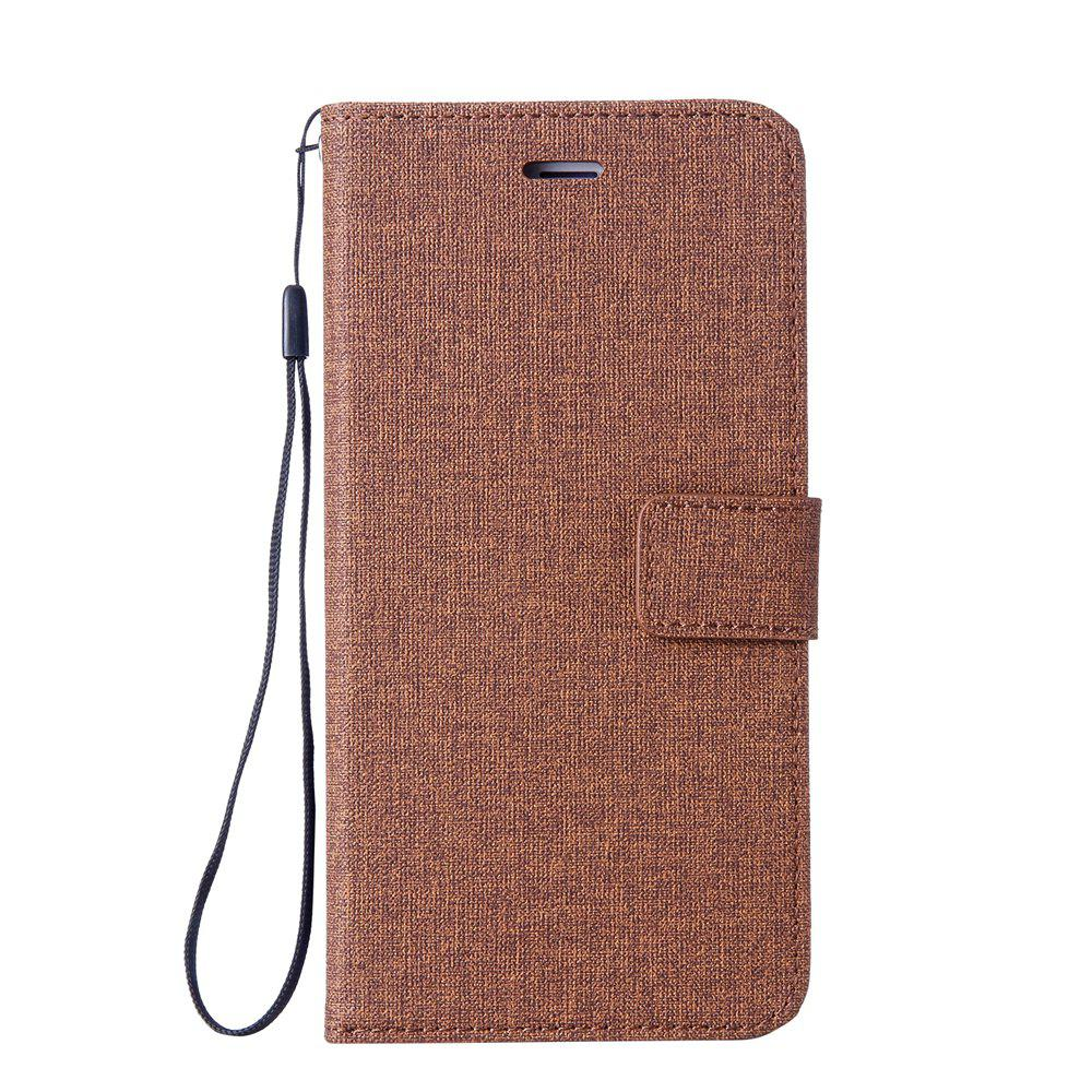 Cotton Pattern Leather Case for Huawei Y5 2017 - BROWN