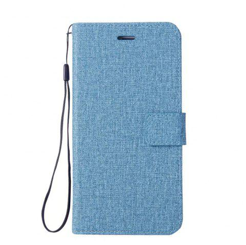 Cotton Pattern Leather Case for Samsung Galaxy S7 - BLUE