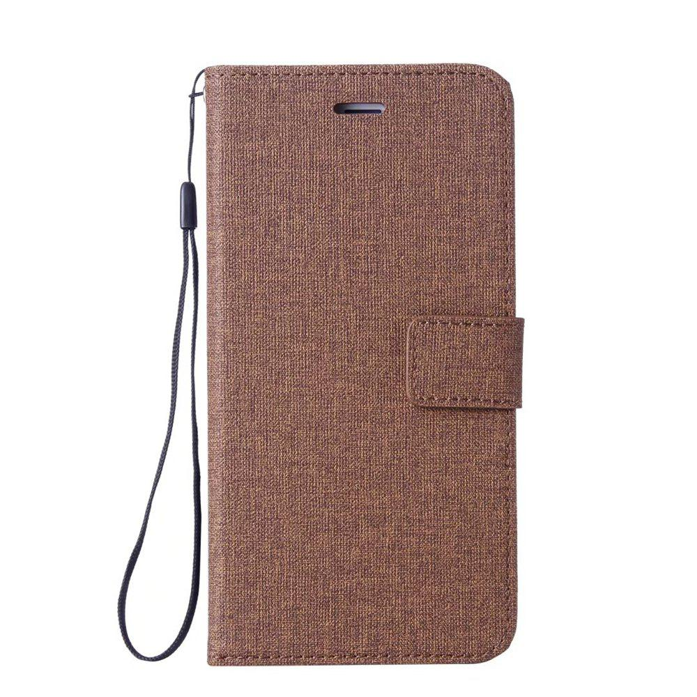 Cotton Pattern Leather Case for Samsung Galaxy S7 - BROWN