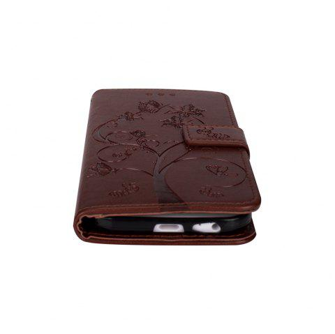 Ants On The Tree PU Leather Dirt Resistant Phone Case for Samsung Galaxy A520 - BROWN