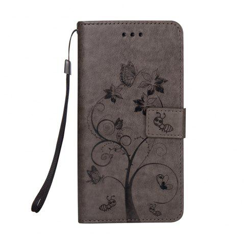 Ants On The Tree PU Leather Dirt Resistant Phone Case for Samsung Galaxy A520 - GRAY