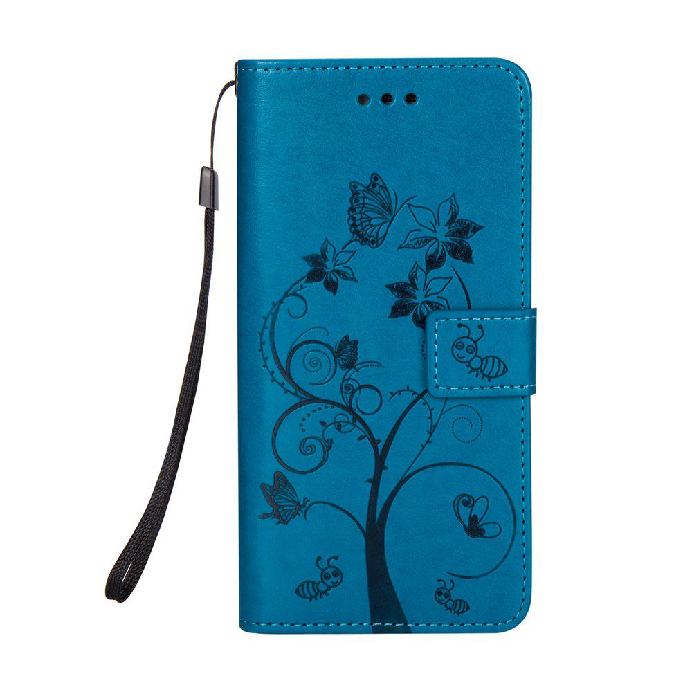 Ants On The Tree PU Leather Dirt Resistant Phone Case for Samsung Galaxy A520 - BLUE