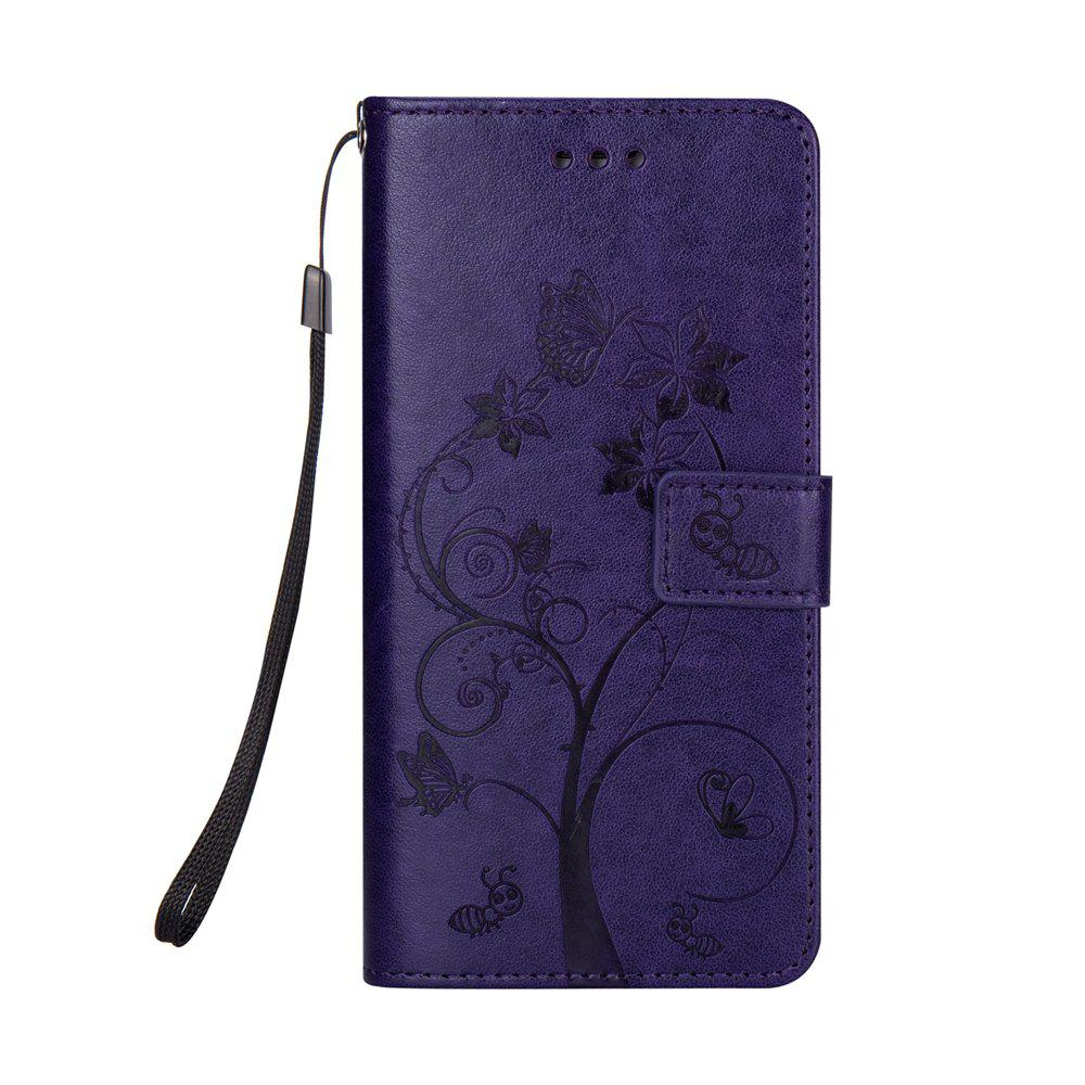 Ants On The Tree PU Leather Dirt Resistant Phone Case for Samsung Galaxy A520 - PURPLE