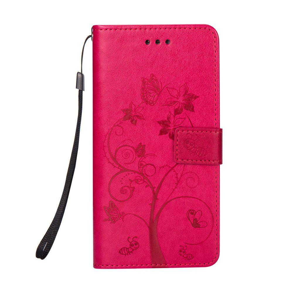 Ants On The Tree PU Leather Dirt Resistant Phone Case for Samsung Galaxy A520 - ROSE RED