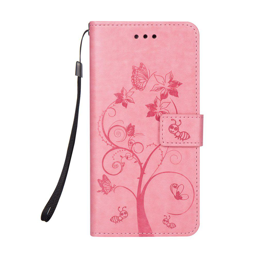 Ants On The Tree PU Leather Dirt Resistant Phone Case for Samsung Galaxy A520 - PINK