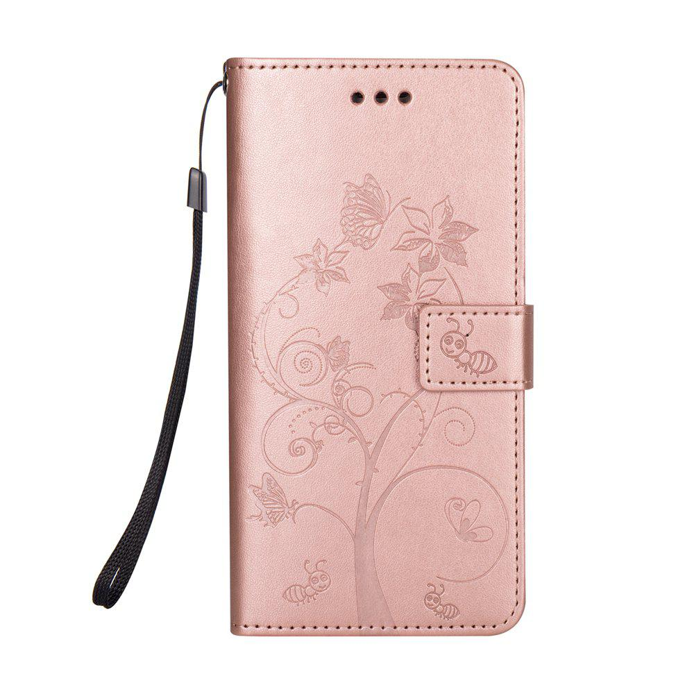 Ants On The Tree PU Leather Dirt Resistant Phone Case for Samsung Galaxy A520 - ROSE GOLD