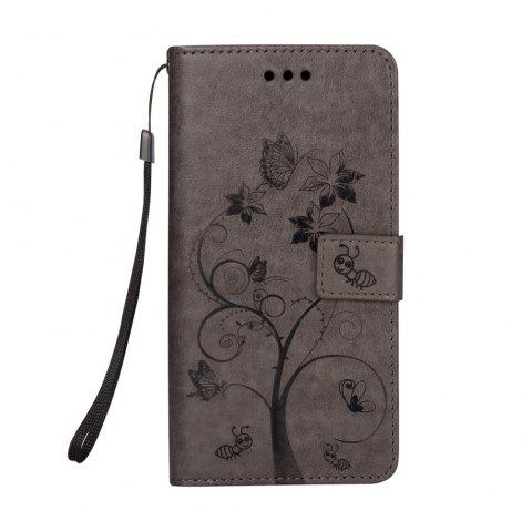 Ants On The Tree PU Leather Dirt Resistant Phone Case for Samsung Galaxy J730 - GRAY