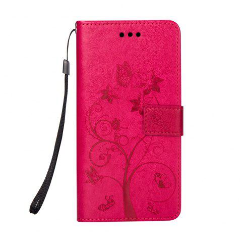 Ants On The Tree PU Leather Dirt Resistant Phone Case for Samsung Galaxy J730 - ROSE RED
