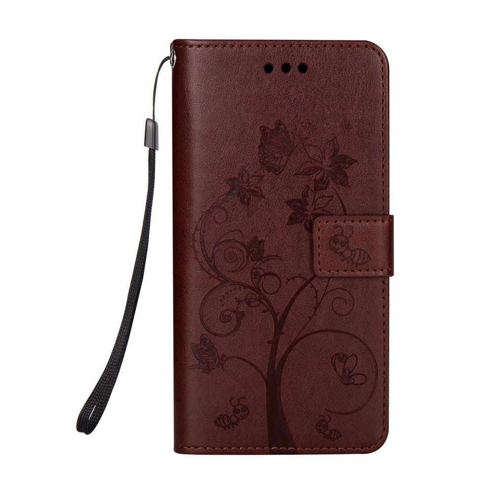 Ants On The Tree PU Leather Dirt Resistant Phone Case for Samsung Galaxy J730 - BROWN
