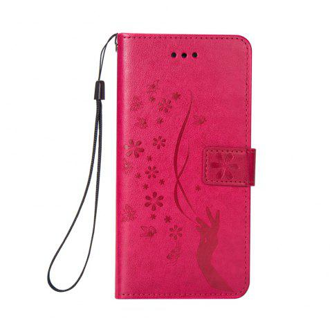 Slender Hand PU Leather Dirt Resistant Phone Case for iPhone 6 - ROSE RED
