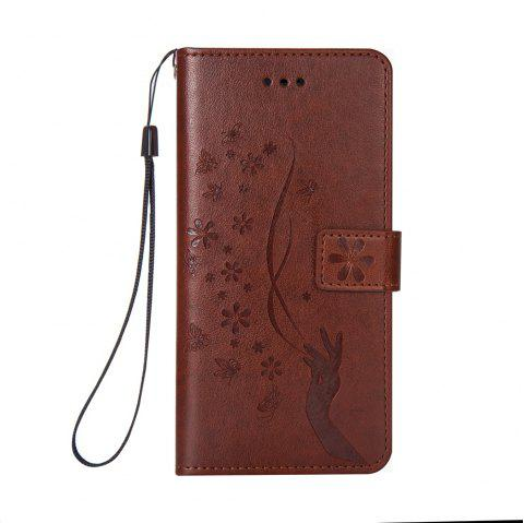 Slender Hand PU Leather Dirt Resistant Phone Case for iPhone 6 - BROWN