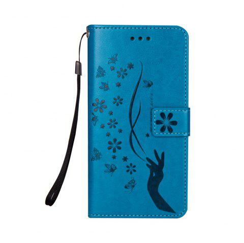 Slender Hand PU Leather Dirt Resistant Phone Case for Samsung Galaxy S7 - BLUE