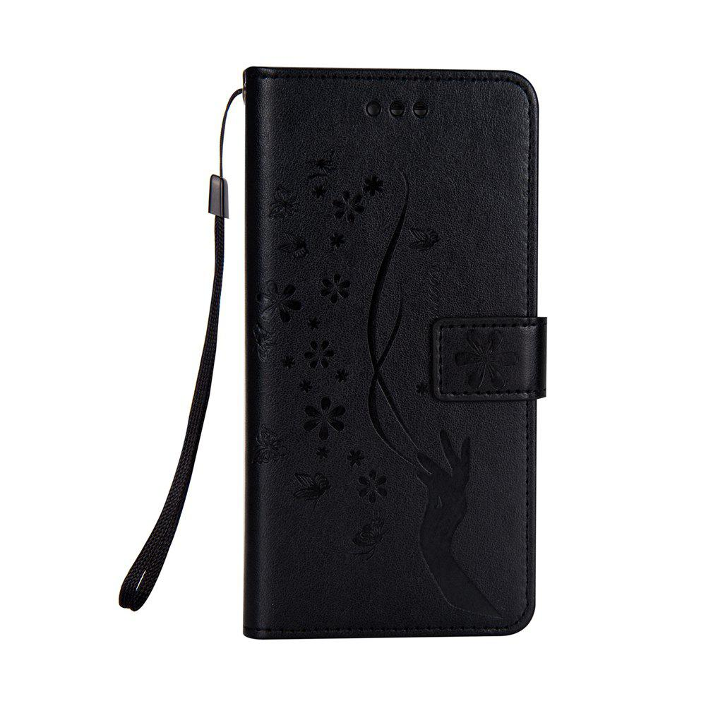Slender Hand PU Leather Dirt Resistant Phone Case for Samsung Galaxy S7 - BLACK