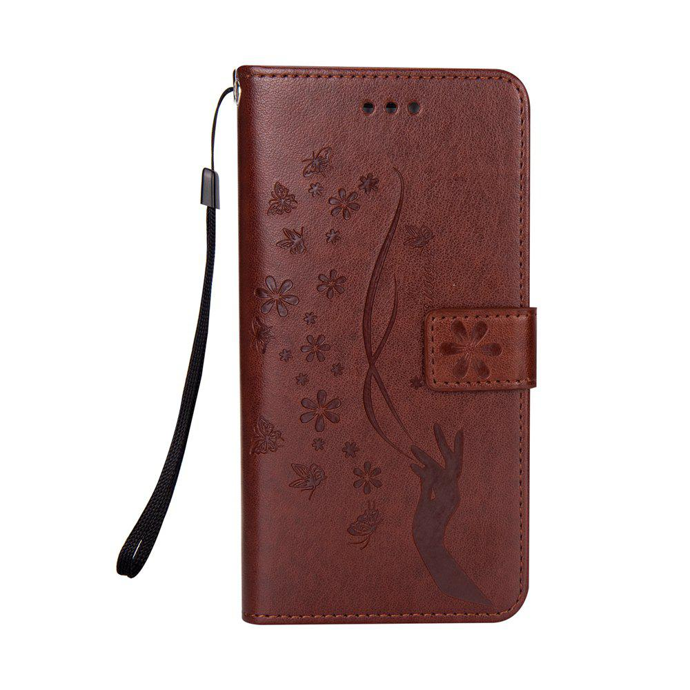 Slender Hand PU Leather Dirt Resistant Phone Case for Samsung Galaxy S7 - BROWN