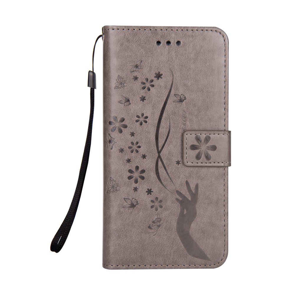 Slender Hand PU Leather Dirt Resistant Phone Case for Samsung Galaxy S7 - GRAY