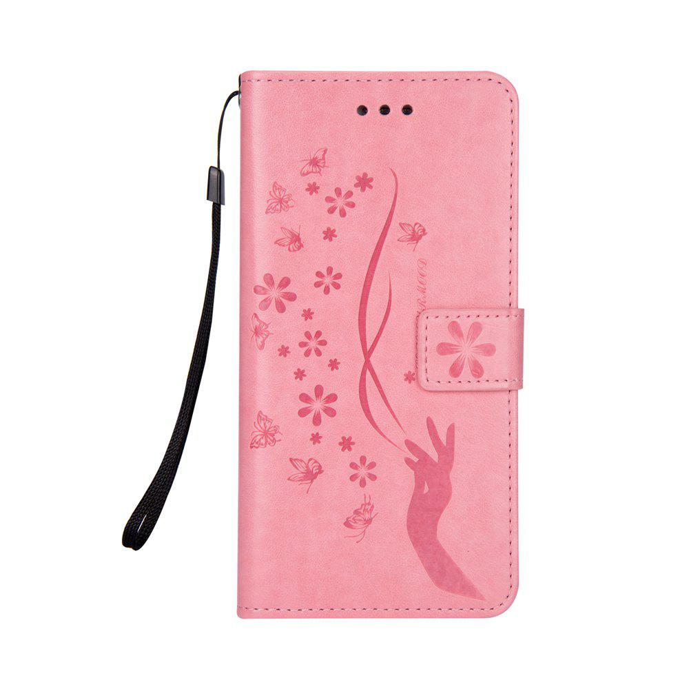 Slender Hand PU Leather Dirt Resistant Phone Case for Samsung Galaxy S7 - PINK