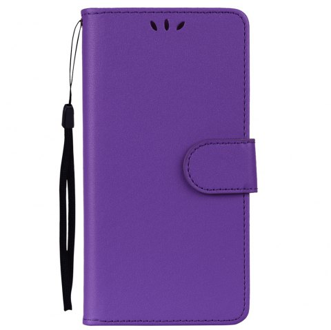 Solid Color Pattern PU Leather Wallet Case for Huawei P8 Lite - PURPLE