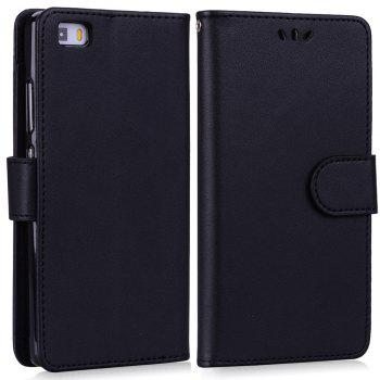 Solid Color Pattern PU Leather Wallet Case for Huawei P8 Lite - BLACK