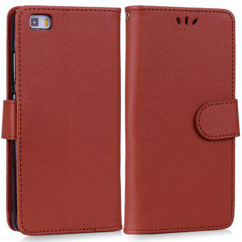 Solid Color Pattern PU Leather Wallet Case for Huawei P8 Lite - BROWN
