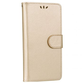Solid Color Pattern PU Leather Wallet Case for Huawei P8 Lite - GOLDEN