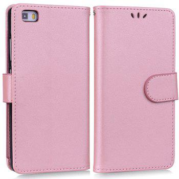 Solid Color Pattern PU Leather Wallet Case for Huawei P8 Lite - PINK