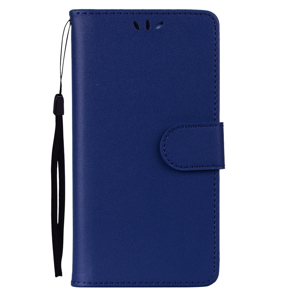 Solid Color Pattern PU Leather Wallet Case for Huawei P8 Lite - BLUE