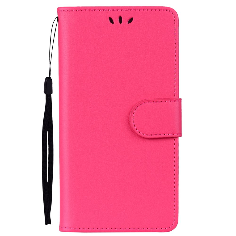Solid Color Pattern PU Leather Wallet Case for Huawei P8 Lite - RED