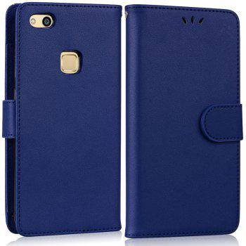 Solid Color Pattern PU Leather Wallet Case for Huawei P10 Lite - BLUE