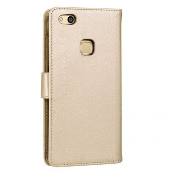Solid Color Pattern PU Leather Wallet Case for Huawei P10 Lite - GOLDEN