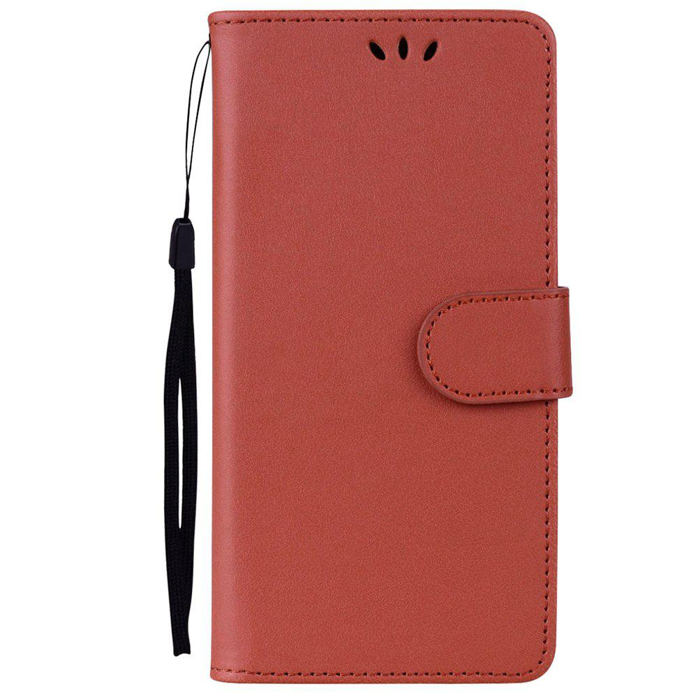 Solid Color Pattern PU Leather Wallet Case for Huawei P10 Lite - BROWN