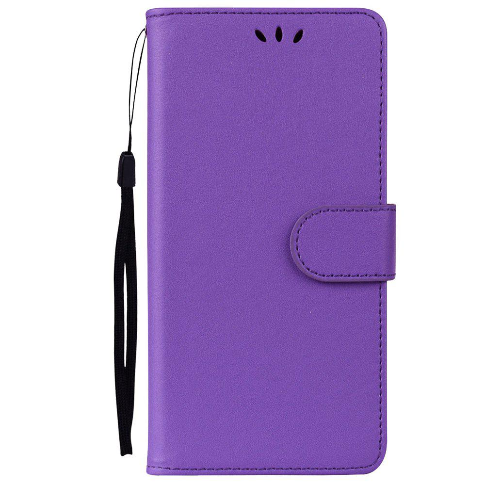 Solid Color Pattern PU Leather Wallet Case for Huawei P10 Lite - PURPLE