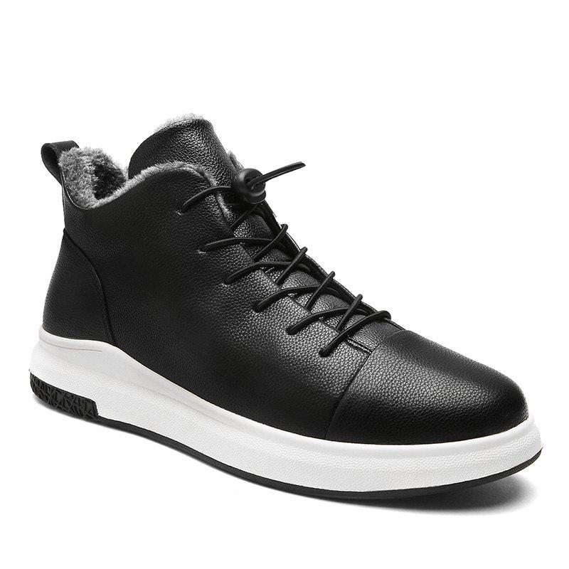 Autumn and Winter New Casual Plus Cashmere Warm Men'S Shoes - BLACK 43