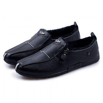 Autumn and Winter Sets of Feet Plus Cashmere Warm Non-Slip Men'S Peas Shoes - BLACK BLACK
