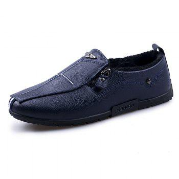 Autumn and Winter Sets of Feet Plus Cashmere Warm Non-Slip Men'S Peas Shoes - BLUE 42