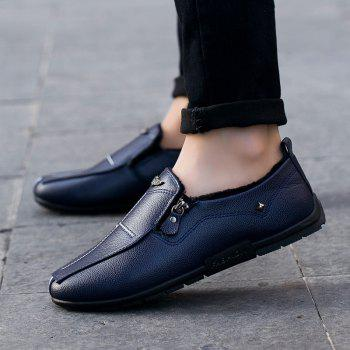 Autumn and Winter Sets of Feet Plus Cashmere Warm Non-Slip Men'S Peas Shoes - BLUE BLUE