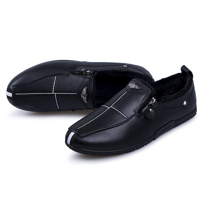 Autumn and Winter Sets of Feet Plus Cashmere Warm Non-Slip Men'S Peas Shoes - BLACK 42