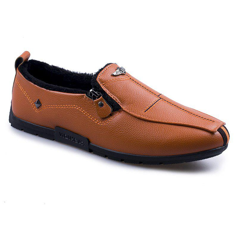 Autumn and Winter Sets of Feet Plus Cashmere Warm Non-Slip Men'S Peas Shoes - ORANGE 40
