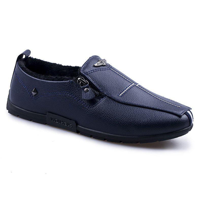 Autumn and Winter Sets of Feet Plus Cashmere Warm Non-Slip Men'S Peas Shoes - BLUE 43