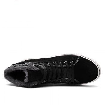 Autumn and Winter Plus Velvet High To Help Casual Men'S Shoes - BLACK 42